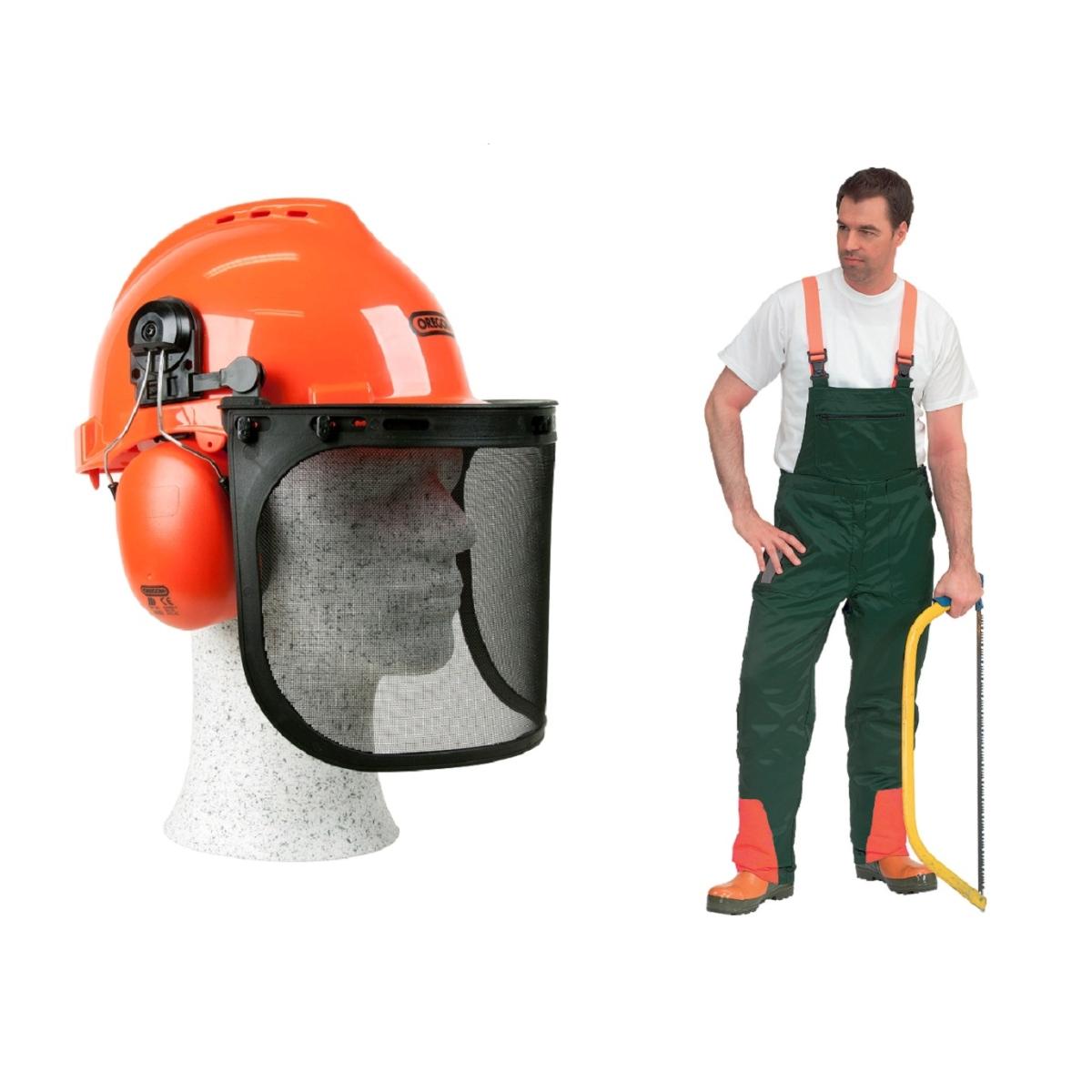 corte casco protección pantalones casco forestal Oregon Sunion set Protección de corte set 2 pzas