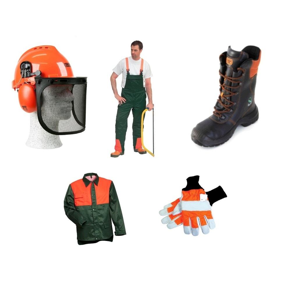 5er-Schnittschutz-Set-Oregon-Forsthelm-Schnittschutzhose-Jacke-Lederstiefel